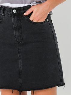 3f4e373ac79 Rigid Fray Skirt in Age Old Black Denim