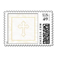 Christening Postage Stamp - Gold Scroll Cross. Make your own business card with this great design. All you need is to add your info to this template. Click the image to try it out!