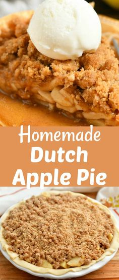 Dutch apple pie is a wonderful variation of a classic American apple pie but uses a sweet crumb topping instead of crust on top. This pie, also known as Apple Crumb Pie, is a combination of flaky pie crust filled with sweet apple filling and topped with buttery, sweet streusel.#dessert #pie #apple #applepie #topping #streusel #crumb Apple Pie Recipes, Baking Recipes, Cake Recipes, American Apple Pie, Apple Crumb Pie, Apple Filling, No Bake Pies, Pie Cake, Junk Food