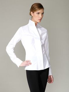 Narciso Rodriguez Silk Cotton High-Neck Blouse - I'm a sucker for high necks and crisp white.