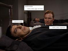 Andréa Sutinen: Photo - Wakey wakey, vegetables and saddness. Star Trek Meme, Star Wars, Star Trek Tos, Watch Star Trek, Star Trek Original, Starship Enterprise, Across The Universe, Spock, I Laughed