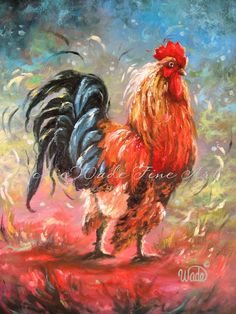 This is the first handsome rooster painting in a new series called Rise and Shine It is an original gallery wrapped oil painting with Chicken Painting, Chicken Art, Chicken Drawing, Rooster Painting, Rooster Art, Watercolor Paintings, Original Paintings, Oil Paintings, Chickens And Roosters