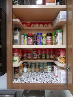 Kitchen Remodeling Ideas diy spicy shelf organizer, kitchen cabinets, organizing, shelving ideas - Just Say NO to As Seen On TV Spicy Shelf Organizer.and YES to DIY! - Depending on the size of your cabinet, you can get of these DIY spice shelves for ar Diy Kitchen Storage, Kitchen Shelves, Kitchen Pantry, Organized Kitchen, Kitchen Decor, Kitchen Rack, Pantry Storage, Decorating Kitchen, Kitchen Layout