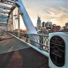 """Sunset over downtown Nashville captured on the John Seigenthaler Pedestrian Bridge  #explore615 #NashvilleTN #nashville  Photo captured by…"""