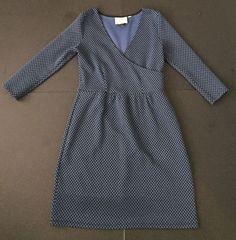 Anthropologie HD In Paris Textured Faux Wrap Dress XS Blue Circles Black Stretch #HDInParis #ALineDress #CasualWearToWork