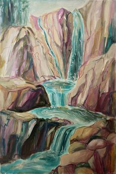 waterfall, acrylic painting