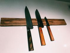 DIY magnetic knife list. Oak list with inserted rare earth magnets. Treated with dark antic wax. By Jan Arild Lyngstad