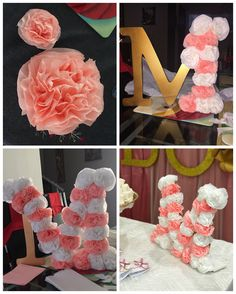 Letra en madera decorada con flores de papel