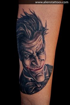 Batman Joker Tattoo, Inked by Sunny at Aliens Tattoo, Mumbai. I did this one on the same guy who got Red Indian Tattoo from us, he wanted to get some fantasy character this time on the other forearm, suggested him my favorite villain character from Batman Arkham City Game, The Joker. We did little research for the right image for his tattoo and here is the output. Hope you all liked the tattoo