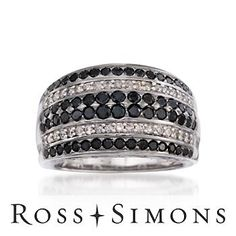 Black and White Diamond Ring In 14kt White Gold