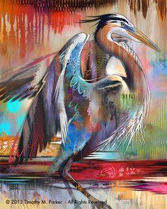 "Contemporary Tropical Bird Art - Modern Bird Print ""Blue Heron Colors"" signed by artist Tim Parker of #BirdArt on Etsy♥•♥•♥"