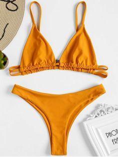 Bralette High Leg Thong Bikini – Dark Orange S – Fashion Outfits Swimwear Model, Swimwear Sale, Swimwear Brands, Swimwear Fashion, Bikini Swimwear, Sexy Bikini, Thong Bikini, Swimsuits, Black Bikini