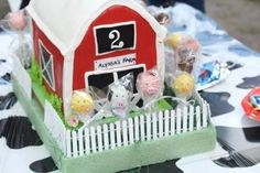 Adorable cake at a Farm party!  See more party ideas at CatchMyParty.com!  #partyideas #farm