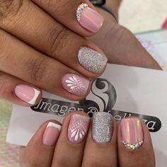 Glittery Nails, Cute Acrylic Nails, Fancy Nails, Classy Nail Designs, Toe Nail Designs, Beautiful Nail Designs, Nail Manicure, Toe Nails, Pretty Nail Art