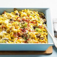 Believe it! This gooey bacon-studded casserole has fewer than 350 calories per serving. The secret? Creamy butternut squash lets you eliminate some of the cheese for a lower-fat but equally delicious fall casserole.