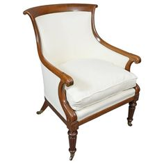 Regency Style Mahogany Armchair   From a unique collection of antique and modern bergere chairs at https://www.1stdibs.com/furniture/seating/bergere-chairs/
