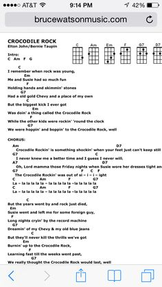 Crocodile rock uke chords