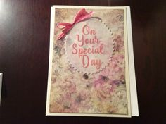 Card handmade Parchment Craft. Personalised Special Day