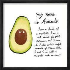 Avocado Fruit art Print great for childrens rooms by neikoart, @amazingavocado #holidayavocado