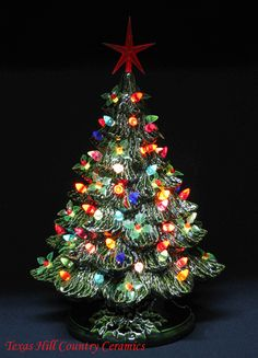 this ceramic christmas tree is a creation of mine called winter holly lights this large holiday christmas tree is inches tall and decorated with sprigs of