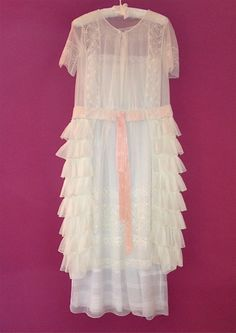 Edwardian tulle and lace ruffle tea dress.
