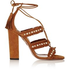 Aquazzura Women's Tulum Lace-Up Sandals ($359) ❤ liked on Polyvore featuring shoes, sandals, heels, brown, fringe heel sandals, heeled sandals, embellished flat sandals, strappy sandals and strappy heeled sandals