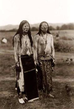 "Edward S. Curtis- Two young Cheyenne Indian men in ceremonial paint : ""The Sun Dance Pledgers"", 1910"