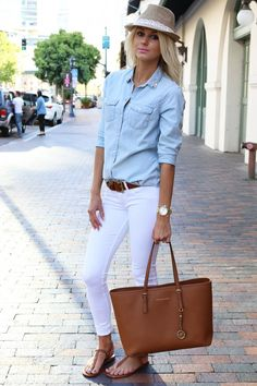 Denim shirt, white jeans, fedora, michael kors purse, fashion blogger
