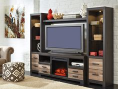 Harlinton Entertainment Wall Unit with Fireplace