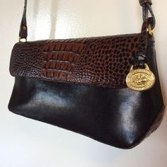 """BRAHMIN SHOULDER BAG 11.5"""" L, 3.25"""" D X 5.5H.  Small enough to stay lightweight and big enough for your full-sized wallet, cell phone and small makeup bag. Thank you for looking. Brahmin Bags Shoulder Bags"""