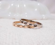 Custom Stamped Ring // Solid 14k Gold Hand Stamped Ring