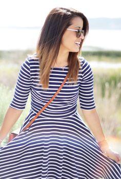 Navy Striped Dress @lulusdotcom