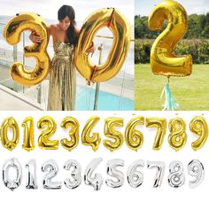 40 inch Gold Silver Digit Foil Balloons Number Helium Balloon inflatable festa casamento wedding Birthday balloon Party Supplies