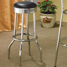 "Set of 2 50's Retro Nostalgic Style Black Bar Stools - 29""H"