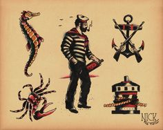 Vintage Tattoo Flash | Old School Tattoo Flash 134 Anchor Tattoos