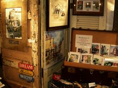 Ooh! Old doors as art booth walls! I like it! - David Tripp's art booth at Grapefest 2011