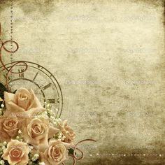 Vintage Wallpaper Background | Retro Vintage Romantic Background With Roses And Clock Stock Photo was ...