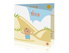 Thema zomer geboortekaartje jongen in duinen