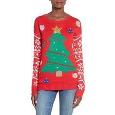Junior Derek Heart Tree Ornament Christmas Sweater ($42) ❤ liked on Polyvore featuring tops, sweaters, black, black sweater, intarsia sweater, fairisle sweater, fair isle christmas sweater and fair isle sweater