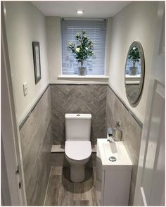 Small Downstairs Toilet, Small Toilet Room, Small Toilet Design, Bathroom Design Small, Bathroom Designs, Grey Bathrooms, Modern Bathroom, Loft Bathroom, Bathroom Trends