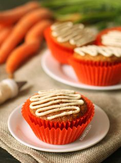 These gluten-free and grain-free carrot cake cupcakes have the best fluffy texture! Naturally sweetened and with a paleo and dairy-free option.
