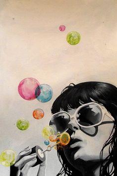 Burbujas, ilustración.
