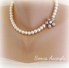 Pearl Necklace, inspired Ivory Glass Pearls and Rhinestone Brooch Bridal Necklace Brides Bridesmaids Gifts Maid of Honor