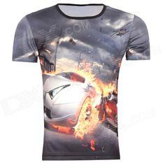 Men's Korean Version Flaming Sports Car Printing Pattern Short Sleeve T-shirt - Grey (Size XXXL)