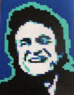 Perler Bead Portrait  JOHNNY CASH by MostFavoriteAunt on Etsy, $30.00