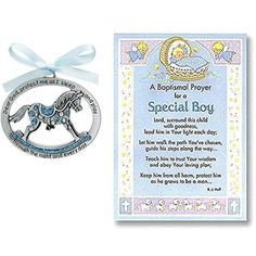 Crib medal and touching notecard make cute baptism gift idea for baby boy, grandson, godson, special little one.