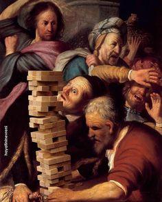 Christ Driving The Money Changers From The Temple Images Esthétiques, Photo Images, Arte Pop, Art And Illustration, Memes Arte, Classical Art Memes, Art Jokes, Famous Artwork, Photocollage