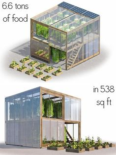 This flatpack urban farm only takes up 538 square feet, but its creators say that it can yield as much as 6 tonnes (6.6 tons) of fresh produce per year. #hydroponicgardening