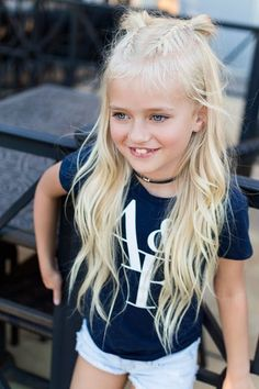 little girl outfit idea casual white sneakers abercrombie hairstyle braids pigtail buns frenchbraid french braids half up little girl hairstyle french braid pony tail curls high pony volumized pony hair blonde platinum coachella festival - Hair Style Girl Little Girl Haircuts, Little Girl Braids, Cute Haircuts, Baby Girl Hairstyles, Girls Braids, Trendy Hairstyles, Braided Hairstyles, Teenage Hairstyles, White Girl Braids