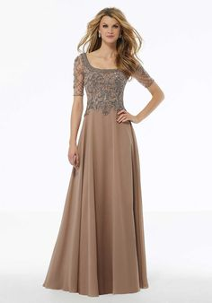 Shop Morilee's Beaded A-Line Evening Gown in Net and Chiffon. Crystal beaded net Mother of the Bride dress over chiffon on an A-line silhouette. Chiffon Evening Dresses, Chiffon Dress, Evening Gowns, Bride Groom Dress, Bride Gowns, Beaded Chiffon, Beaded Gown, Beaded Lace, Grey Prom Dress